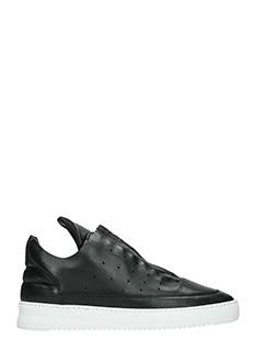 Filling Pieces-Sneakers Low Top in pelle nera zip