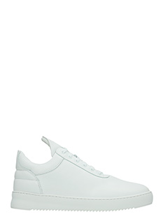 Filling Pieces-Sneakers Low Top faced two  in pelle bianca