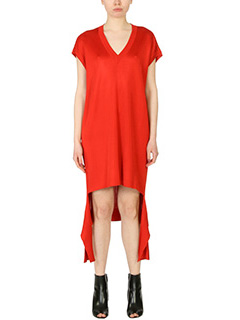 Balenciaga-red cotton dress