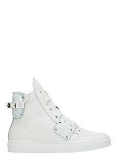 One Way-Sneakers alte in pelle bianca
