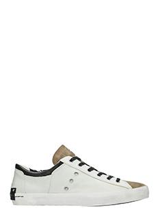 Crime-Sneakers basse in pelle e camoscio bianco beige