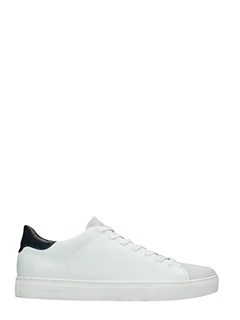 Crime-Sneakers basse in pelle e camoscio bianco