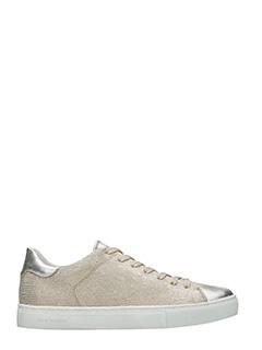Crime-Sneakers basse in pelle oro ed argento