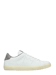 Leather Crown-Sneakers Low in pelle bianca grigia