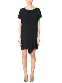 Diane Von Furstenberg-Vestito Lolani in viscosa nera pannello frontale asimmetrico
