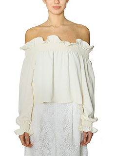 Diane Von Furstenberg-Top Georgie in stretch piqu� latte