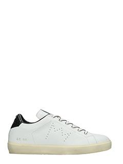 Leather Crown-Sneakers Low in pelle bianca nera