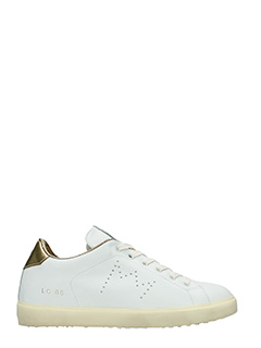 Leather Crown-Sneakers Low in pelle bianca platino