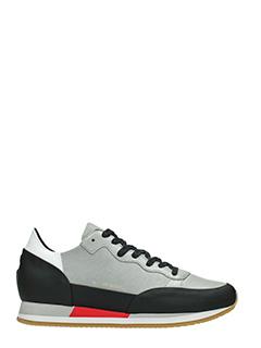 Philippe Model-Sneakers Bright in pelle e camoscio grigio nero