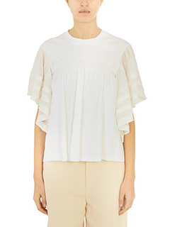 Chloé-white cachemire and silk t-shirt