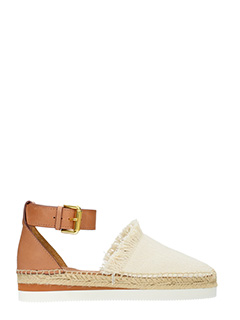 See by Chloé-Espadrillas Sunset in pelle cuoio e canvas beige