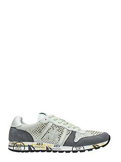 Premiata-Sneakers Eric  in pelle e camoscio bianco grigio