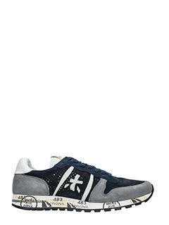 Premiata-Sneakers Eric  in pelle e camoscio blue grigio