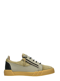 Giuseppe Zanotti-Sneakers Low in pelle bianca e tessuto geige nero