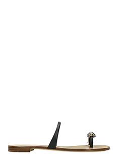 Giuseppe Zanotti-Rock 10 black leather flip flops