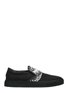 Marcelo Burlon-Sneakers Azelia in cotone nero bianco