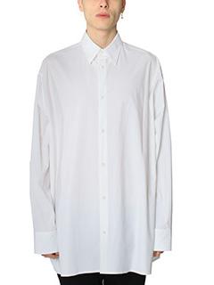 Raf Simons-Camicia Over in cotone bianco