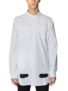 Off White-Camicia Diagonal Spray in cotone bianco