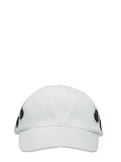 Off White-Cappello Diagonal Spray in cotone bianco nero