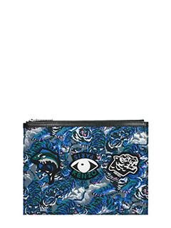 Kenzo-Pochette Multi Icons Kalifornia Wallet in pelle e tessuto blue fantasia