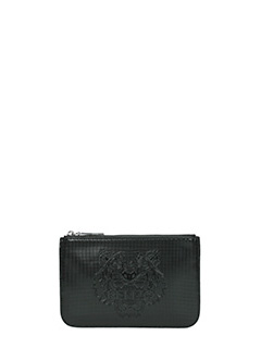 Kenzo-Pochette Metallic Tiger Clutch in pvc metallic nero