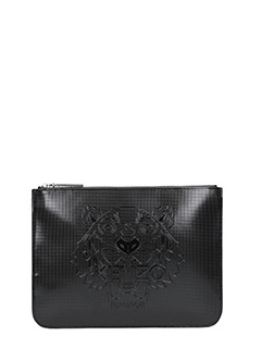 Kenzo-Pochette A5 Metallic Tiger Clutch in pvc nero