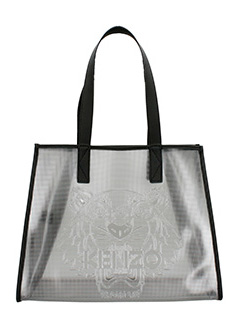 Kenzo-Borsa Metallic Tiger tote in pvc nero
