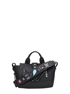 Kenzo-Borsa Kalifornia Mini X Badges in pelle nera