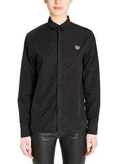Kenzo-Camicia Tiger Crest in cotone nero