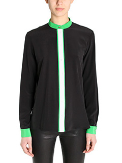 Kenzo-Camicia Color Block in seta nera