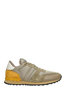 Valentino-Sneakers Rockrunner in pelle e tessuto beige