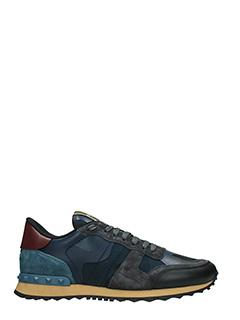 Valentino-Sneakers Rockrunner in pelle e tessuto blue