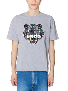 Kenzo-T-Shirt Tiger Snake in cotone grigio