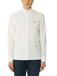 Kenzo-Camicia Tiger Crest in cotone bianco