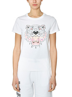 Kenzo-T-Shirt Tiger in cotone bianco