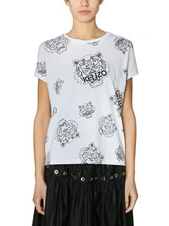 Kenzo-T-Shirt Tiger All Over in cotone bianco