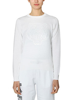 Kenzo-Silicon Tiger white cotton knitwear