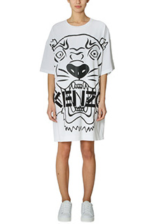 Kenzo-Oversized Tiger white polyester dress