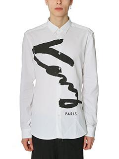 Kenzo-Camicia Kenzo Signature in cotone bianco