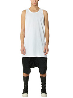 Rick Owens-Top Cylocps Tank in cotone bianco