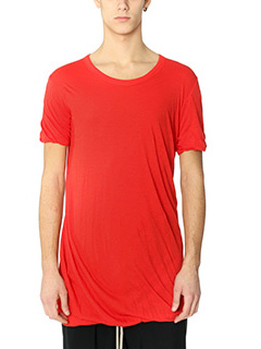 Rick Owens-T-Shirt Double Short in cotone rosso