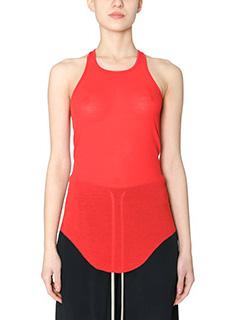 Rick Owens-Basic rib tank red cotton topwear