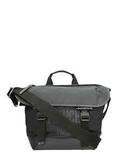 Givenchy-Borsa Messenger Logo in tessuto tecnico nero