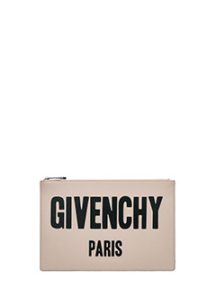 Givenchy-Pochette Pouch Givenchy Paris in pelle nude