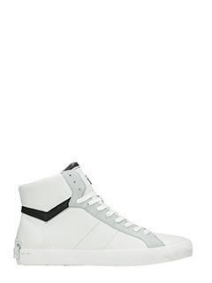 Crime-Sneakers high in pelle bianca