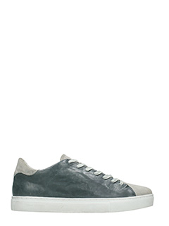 Crime-Sneakers basse in pelle e camoscio grigio