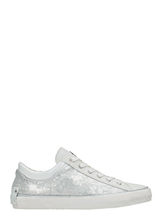 Crime-Sneakers basse in tessuto paillettes bianche