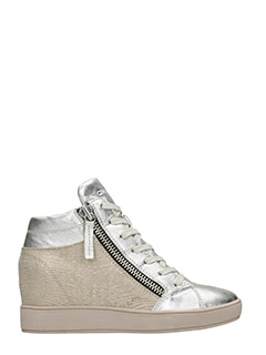 Crime-Sneakers Wedge in pelle argento oro