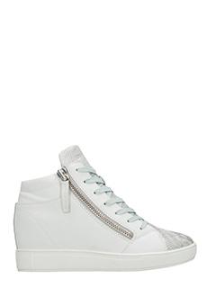 Crime-Sneakers Wedge in pelle bianca