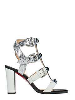 Christian Louboutin-Rocknbuckle 85 white leather sandals